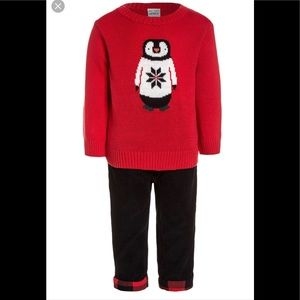 LIKE NEW! Carter's Penguin Sweater Corduroy Pants